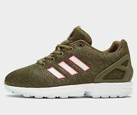 Adidas Originals ZX Flux GS ® ( Size UK 4.5  EU 37.5 ) Olive / White / Pink  NEW