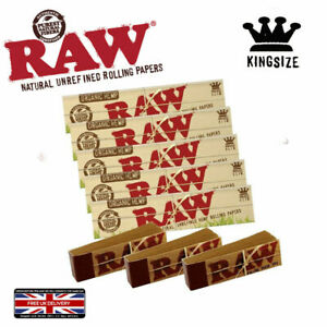 RAW NATURAL ORGANIC HEMP KING SIZE JOINT ROLLING CIGARETTE PAPERS + TIPS BUNDLE