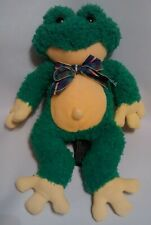 """First and Main Green Yellow Frog Plush Stuffed Rattle Toy Plaid Bow 14"""""""
