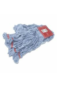 Web Foot Wet Mops, Cotton/Synthetic, Blue, Large, 5-in. Red Headband, 6/Carton