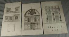 3 Blätter - Stiche Architektur Zeichnung S. Maria Venedig + Münster Westf.  /S96
