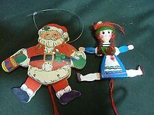 Vintage Wood Dancing Santa & Dutch Girl Pull String Ornaments