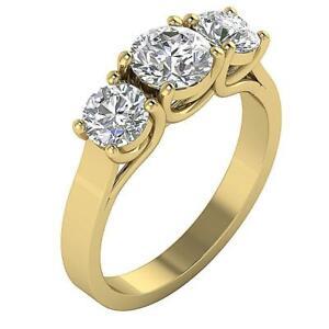 I1 G 2.00Ct Round Cut Diamond 14K Gold 3 Stone Engagement Ring Prong Set 6.30MM