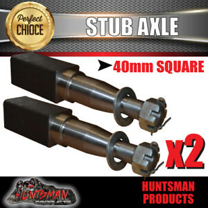 x2 Trailer Stub Axle 40mm x 250mm Suit LM Bearings With Nut, Washer & Split Pin