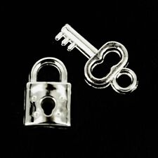 Cadenas & clés charms argent fabrication carte ~ bijoux ~ scrapbooking x 10 NP41