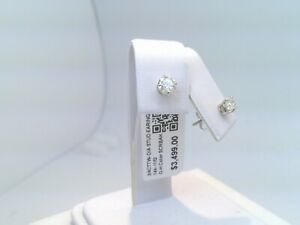 $3500 WOW 3/4CTTW CT REAL Diamond Stud Earrings 14k SOLID WHITE Gold NO RESERVE