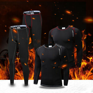 Mens Fleece Thermal Base Layer Long Sleeve Sets Winter Warmer Cycling Tops Pants