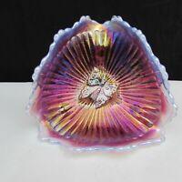 Fenton Plum Opalescent Iridized FAGCA Butterfly Bonbon  1984 W238 HTF