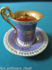 BREMER & SCHMIDT - Germany - ca 1930s figural cup/saucer, gold,and purple[a*4-4a
