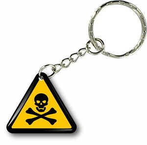 Keychain key ring keyring car motorcycle poison warning label jdm tuning