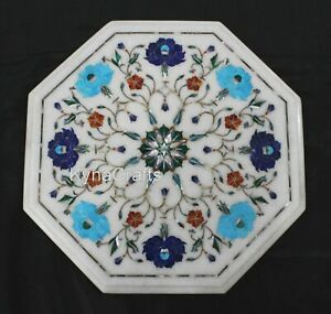 12 Inch Marble Corner Table Pietra Dura Art Coffee Table Top from Heritage Art
