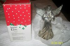 "SILVERPLATED/ANTIQUE FINISH ANGEL DESIGN CANDLE HOLDER 8"" HEIGHT."