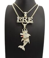 Hip Hop Young Dolph PRE Dolphin Chain Set Necklace 14k Gold Plated