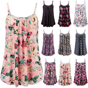 Plus Size Womens Summer Floral Swing Tops Dress Ladies Beach Vest Cami Sundress