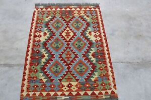 Afghan Kundoz Genuine Handmade Tribal Nomad Multi Colour Wool Kilim Rug 84x125cm
