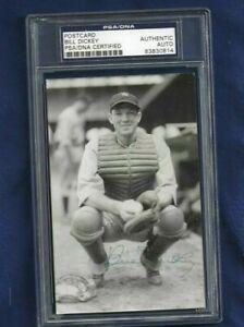 Bill Dickey Autographed New York Yankees Baseball Postcard Photo PSA SLABBED