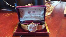 Vintage Swiss Benrus Wrist Watch Gold P 20 Micron + Rare Original Velvet Case