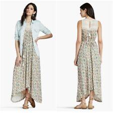 Lucky Brand Women's Maxi Dress Size L Crochet Yoke Floral Full Length Summer