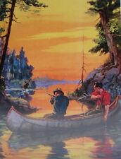vintage art Hy Hintermeister Hunters Canoe Moose