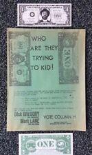 "RARE-DICK GREGORY-for PRESIDENT- Original FBI Raid Flyer + 2 ""ONE VOTE"" tickets"