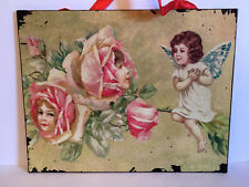 TIN VALENTINE SIGN. GIRLS FACES IN THE ROSES. GIRL WITH BUTTERFLY WINGS. NEW!