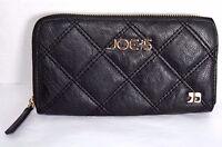 Joe's Womens Wallet Black Quilted Vegan Zip Around Card Holder Coin Purse Clutch