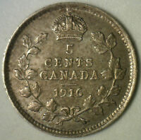 1916 Canadian Silver 5 Cents Coin Five George V Canada Type Coin Extra Fine XF
