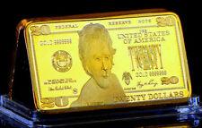 ★★ JOLI MEDAILLE PLAQUéE OR ● USA ● BILLET DE 20 DOLLARS  ★★