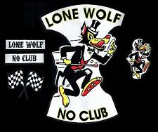 Lone Wolf No Club Back Patch SET 5pc rocker Hot Rod Motorcycle Racing Jacket