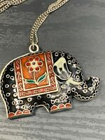 Vintage Nicely Bohemian Enameled Elephant Pachyderm pendant necklace with chain