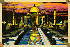 Taj Mahal Vintage Black Light Velvet Poster 1973