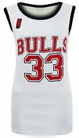 NEW LADIES WOMENS CELEB BASEBALL BULLS 33 PRINT TOP T-SHIRT VEST SIZE 8 10 12 14