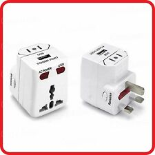 2 X UNIVERSAL USB CHARING+TRAVEL ADAPTOR ADAPTER CONVERTER+POWER PROTECTION FUSE