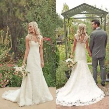 White/Ivory A-Line Lace Wedding Dress Bridal Gown Ball Gown Custom Size 4-26+