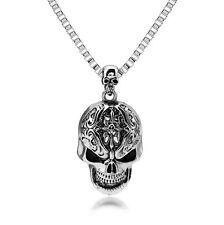 Unisex's Men Stainless Steel Big Skull Head Pendant Box Chain Rock Punk Necklace