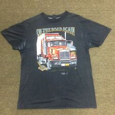 Vintage 3D EMBLEM T Shirt Truckers Only On The Road Again Size L