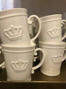 Geschirrserie Crown Henkelbecher Krone Porzellan Offwhite Shabby Vintage Becher