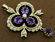 Beautiful Genuine 9ct Yellow Gold Natural Amethyst & Pearl Pendant Vintage style