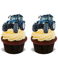35x TRACTOR Premium Edible Stand Up Rice Wafer Cup Cake Toppers FARM FARMER D5