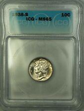 1938-S Silver Mercury Dime 10c Coin ICG MS-65 Near Full Bands GEM BU