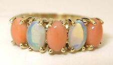 Ladies 14k yellow gold cabochon pink coral and Australian opal ring