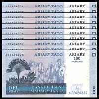Lot 10 PCS, Madagascar 100 Ariary,2004(2016), P-86 New sign, UNC Banknote