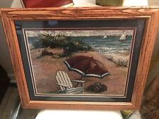 Needlepoint Like Fabric Matted & Framed Under Glass Beach Scene Chair & Umbrella