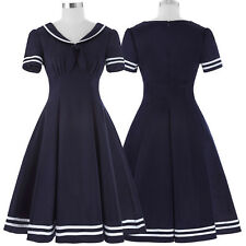Retro Vintage Housewife Lapel Collar Party Sailor Pin up Swing Gown mini Dresses