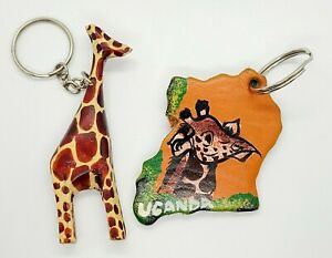 Handmade leather & wood African keychains lot of 2