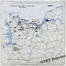 Wall Art of WWII Map D-Day US Army Position June 6, 1944  13x13
