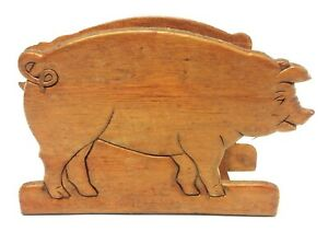 Vintage Used Wood Wooden Farmhouse Country Pig Napkin Holder Letter Organizer