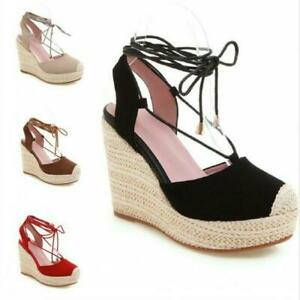 New Women Lace Ups Slingback Closed toe Cut Out Espadrilles Summer Wedge Sandals