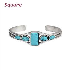Fashion Vintage Turquoise Bracelet Cuff Adjustable Bangle for Women Jewelry Square