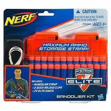 Brand New NERF Elite BANDOLIER KIT Strap 2 QUICK RELOAD CLIPS 24 Elite Darts